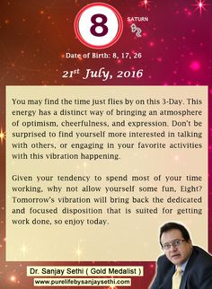 #Numerology‬ predictions for 21st July'16 by Dr.Sanjay Sethi-Gold Medalist and World's No.1 #AstroNumerologist.