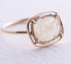 Kinda cool, minus the rose gold.  Diamond Slice  Ring, Yellow 14K Gold Ring, Engagement Ring, Modern Engagement Ring, Rose Cut Diamond Ring.
