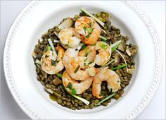 Roasted Shrimp and Green Lentils ( and three other lentil recipes!)