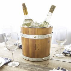 Personalized Bo\rown Wood and Rustic Ice Bucket