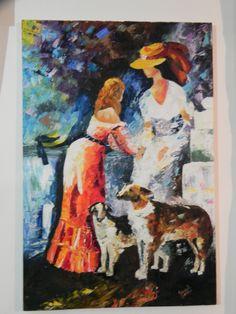 obra sobre lienzo, en oleo y trabajada totalmente con espatula, bella imagen que titule Fidelidad, realmente no recuerdo  el nombre del artista, a quien agradesco por publicarlo.