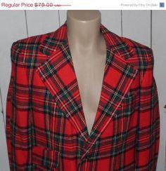 Snow Sale Vintage 70s Wool Red Tartan Plaid Sports Coat by clovas, $67.15