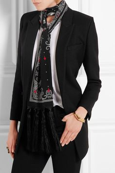 Alexander McQueen's tassled take on the skinny scarf: Black, white and red silk crepe de chine 100% silk Dry clean Made in Italy