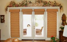 Hobbled roman shades for french doors.
