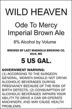 "Lazy Magnolia Wild Heaven ""Ode To Mercy"" Imperial Brown Ale"