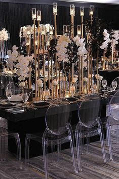 modern wedding decor ideas black and gold reception with tall candlesticks and cascading orchids signatureexposure part mariage mariage boheme champetre champetre deco deco robe romantique decorations dresses hairstyles Gold Wedding Decorations, Party Decoration, Ceremony Decorations, Wedding Centerpieces, Wedding Table, Wedding Ceremony, Wedding Venues, Black Wedding Decor, Black And Gold Centerpieces