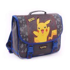 Cartable POKEMON Pikachu pour garçon de couleur Gris 38 cm muni de  2 Compartiments