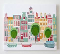 Canal houses - Stitched cityscape canvas print by Laura Amiss