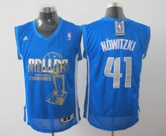 Adidas NBA Dallas Mavericks 41 Dirk Nowitzki 2011 Finals Champions Swingman Blue Jersey