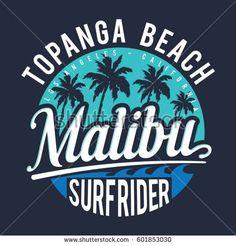Surf sport rider Malibu typography, tee shirt graphics, vectors