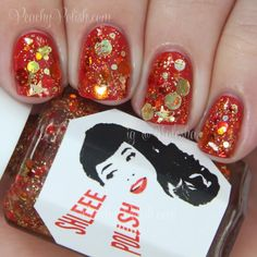 "Shleee Polish ""Solar Flare""   Peachy Polish Solar Nails, Finger Nail Art, Crazy Nails, Swatch, Flare, Polish, Nail Art, Vitreous Enamel, Nail"