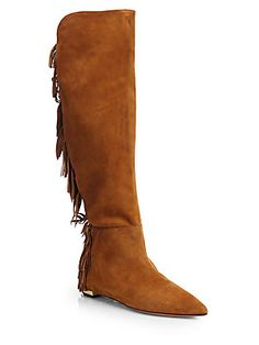 Aquazzura Jagger Over-the-Knee Fringed Suede Boots