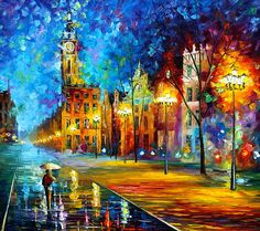 0380  Night Vitebsk Print by Leonid Afremov