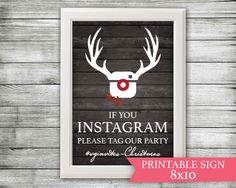 Instagram Sign Christmas Decor - Office Party Decor - If You Instagram - Tag Our Christmas or Holiday Party Sign - Chalkboard Rustic (6.00 USD) by VGInvites