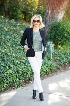 Blazer, sequined top and white jeans-Kacee from Life with Lipstick On