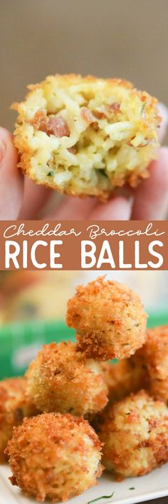 See how you can turn a side of rice into these tasty little Cheddar Broccoli  Rice Balls. They're the perfect little appetizer for everyone in the  family. #recipe #recipes #riceballs #risottoballs #appetizers via @simplymommy