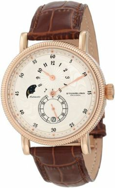 Stuhrling Original Men's 97.3345K2 Symphony Operetta Automatic Date Multi Function Rose Tone Brown Leather Strap Watch Stuhrling Original. $159.00. Alligator embossed genuine leather strap with push-button dual deployant clasp. Minutes and seconds sub-dial and an AM/PM indicator. Round-shaped stainless steel case with coin edge bezel. Water resistant to 165 feet (50m). Quality automatic movement with 40 hour power reserve