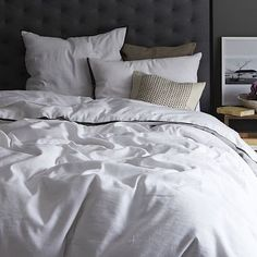 Linen Cotton Duvet Cover + Shams - White #westelm
