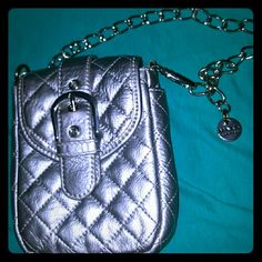 Leather quilted Bag Long silver chain ,no stains in  good condition Maxx new york Bags Mini Bags