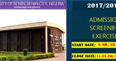 These is to inform the general public that the University of Benin (UNIBEN) Admission Screening Exercise for 2017/2018 Academic Session; to be conducted by UNIBEN CONSULT NIGERIA LIMITEDwill take place between 14thSeptember 2017and 25thSeptember 2017 in designated centres within the Ugbowo Campus of the University.The Screening Exercise shall be conducted using the Computer Based Test (CBT) mode. All candidates are expected to be seated latest one hour before the stipulated time for their…