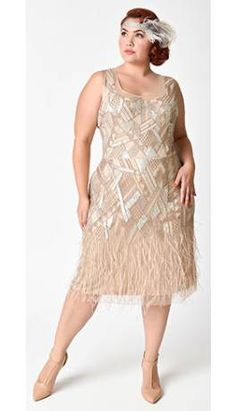 116b70bc3f1 Plus Size 1920s Style Champagne Beaded Deco Feather Fringe Marilyn Flapper  Dress Gatsby Dress Plus Size