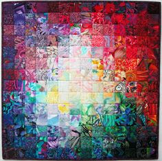 Exuberant Color: Colorwash quilts by Wanda S Hanson - beautiful. She has many others on her site. Bright Quilts, Colorful Quilts, Watercolor Quilt, Charm Quilt, Rainbow Quilt, Quilt Modernen, Church Banners, Landscape Quilts, Scrappy Quilts