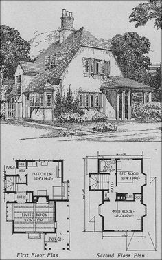 Storybook Cottage House Plans pencil drawing of house 326, a storybook cottage style home with a