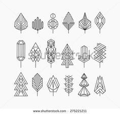 Graphical tree set, hipster linear style - stock vector