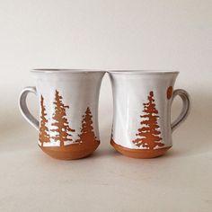 A couple of large muskoka mugs, ready for coffee! #mornings #coffee #caffeine #java #muskoka #landscape #trees #moon #algonquin #outdoors #happy #thursday #canadian #ceramics #canadianceramics #design #two a #pair #sherry #dresser #pottery