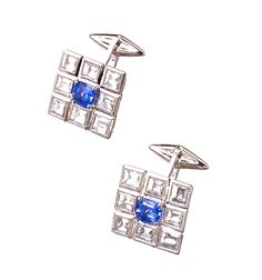 PAIR OF 18 KARAT WHITE GOLD, SAPPHIRE AND DIAMOND CUFFLINKS, ALEXANDER LAUT Estimate 20,000 — 30,000 USD
