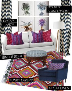 living room- white couch, bright pillows , kilim, bold curtain , art cluster, floor lamps, fabric ottoman -add plants