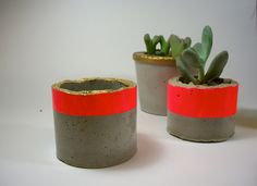 Neon Pink and Gold Modern Concrete Planter. $14.00, via Etsy.