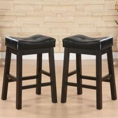 Hadden Bicast Leather Tufted Saddle Counter Stools (Set of 2) | Overstock.com Shopping - The Best Deals on Bar Stools