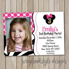 A personal favorite from my Etsy shop https://www.etsy.com/listing/476543653/minnie-mouse-birthday-invitations-polka