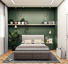 Olive Green Bedroom Walls 51 Green Bedrooms with Tips and Accessories to Help You Green Bedroom Design, Green Bedroom Walls, Green Master Bedroom, Sage Green Bedroom, Room Ideas Bedroom, Home Decor Bedroom, Modern Bedroom, Green Walls, Green Wall Paints