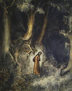 Gustave Doré – Dante perdido en el bosque oscuro. Ilustración para el Canto 1 del « Infierno », 1861