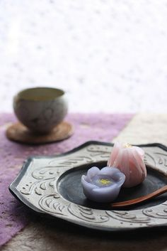 The delicate, sophisticated wagashi (traditional Japanese Sweets)  are part of the traditional tea ceremony in Japan, and are eaten before the ritual bowl of matcha tea