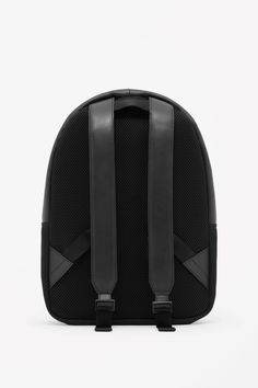 COS image 2 of Leather and mesh backpack in Black
