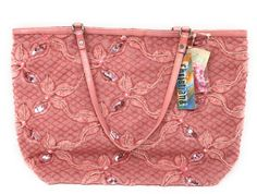 Christiana Purse Pink Tote Style Sequin & Beaded Medium Inside Pouch Size NWT #Christiana #TotesShoppers