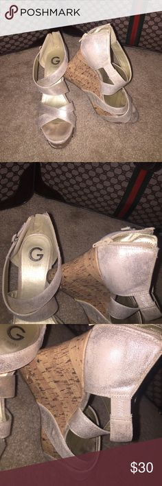 Guess cork wedges, zip backs Guess cork wedges, zip backs gold color size 8 1/2. Very comfy wedges!! 🦄🌈🦄 BOGO SALE 🦄🌈🦄 any items in my closet that are $10 or less are Buy One Get One Free 🦄🌈🦄 just add them to your bundle and then make an offer. The 30% discount does not apply to these items 🦄🌈🦄 if you do not create the offer then I can 🦄🌈🦄 happy poshing 🦄🌈🦄 Guess Shoes Wedges