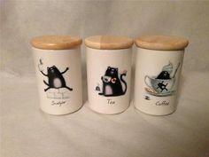 RARE Portmeirion Splat The Cat Rob Scotton Coffee Sugar Tea Canister Set Retired $69.99