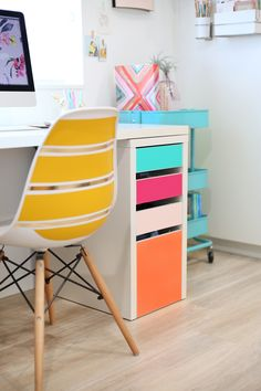 DIY No-Paint Colorful Drawers. Use vinyl and create an IKEA desk hack that will add some color to your office. | Lovely Indeed