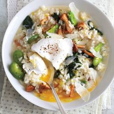 Poaching the eggs ahead of time in this risotto should quell any lingering performance anxiety, and the fresh spring vegetables require little effort.