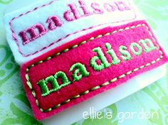 **For APRIL Williams** The ellie Clip Embroidered Name Felt Clip Barrette by elliesgarden, $9.00