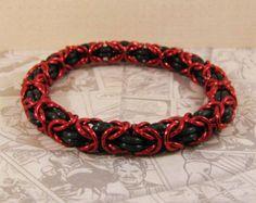 Byzantine Stretch Bracelet in Black & Red - Edit Listing - Etsy