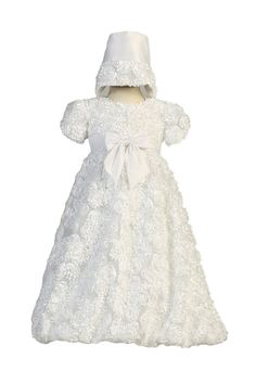 f0d0f0136f8 Long White Ribbon Clusters on Tulle Baby Girl Christening Baptism Special  Occasion Newborn Dress Gown with
