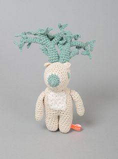 Couverture and The Garbstore - Childrens - Miga De Pan - Gabriel The Deer Rattle Toy Crochet Deer, Crochet Animals, Knit Crochet, Baby Toys, Kids Toys, We Bear, Dinosaur Stuffed Animal, Stuffed Animals, Creature Feature