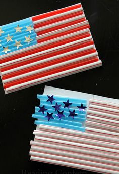 Patriotic Straw Flag Craft for Kids