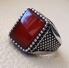 157347f16134 Items similar to Men ring rectangular silver aqeeq flat natural semi  precious agate carnelian gemstone sterling silver 925 jewelry all sizes  fast shipping ...