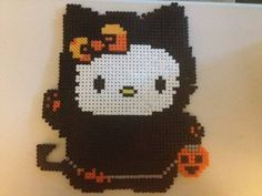 Black Cat Hello Kitty Halloween Giant Perler Bead Magnet - aaawe i wanna make some coasters like this!